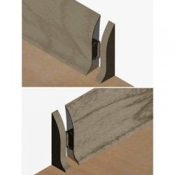 Set 4 buc piese de inchidere plinta (2 buc. dreapta + 2 buc. stanga) pentru plinta PVC culoare gri maroniu