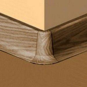 Set 4 buc piese de colt exterior pentru plinta PVC culoare nuc inchis