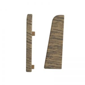 Set 2 buc. capac stanga / dreapta pentru plinta MDF culoare stejar alb