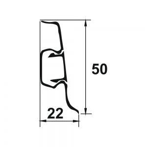 Plinta PROLUX din PVC culoare fag pentru parchet 50 mm